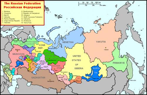 Карта предполагаемого раздела России