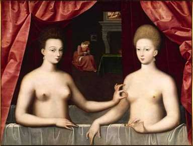 Неизвестный художник школы Фонтенбло, «Габриэль д'Эстре с сестрой(герцогиней де Виллар)» (ок. 1594).Лувр