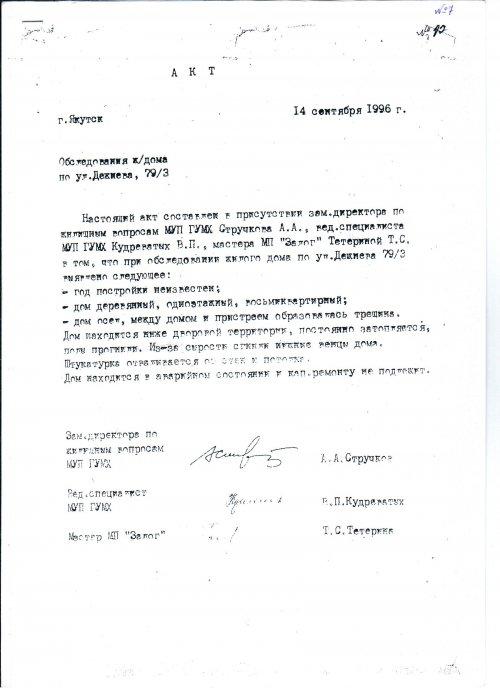 Акт комиссии от 14.09.1996г.